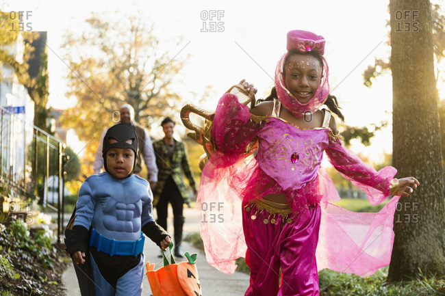 Children trick-or-treating on Halloween