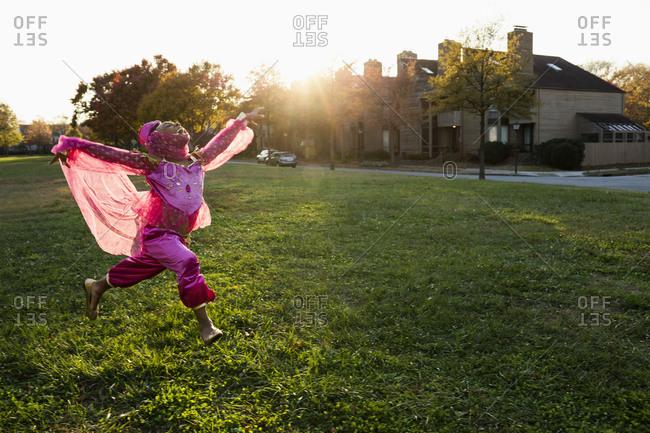 Girl dancing in princess costume