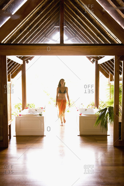 Woman standing in spa