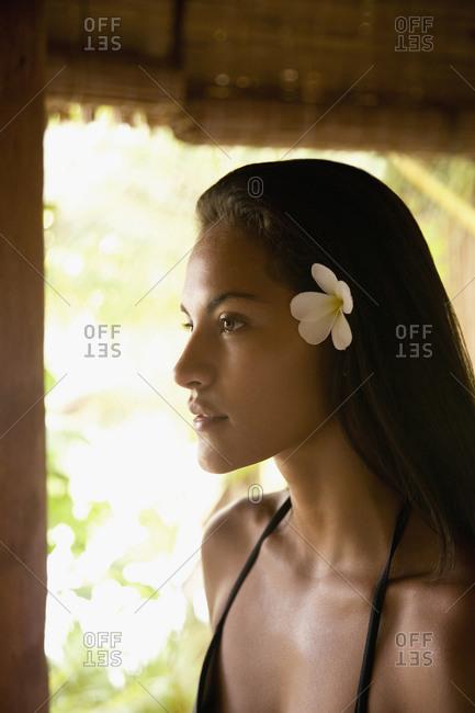 Woman wearing flower in hair