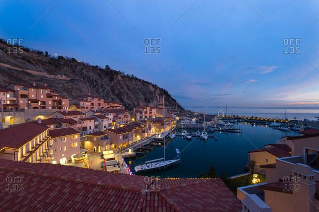 Port town on the coast of Italy