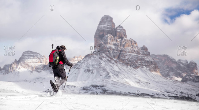 Snowshoeing on Piana Mount, Italy