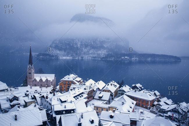 Snowy lakeside village in Austria
