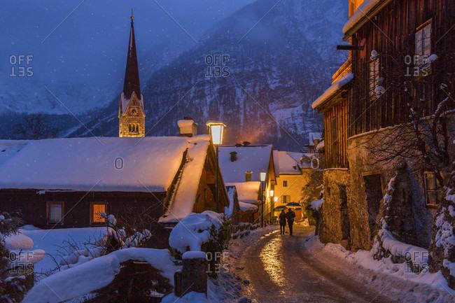 People walking in cozy Austrian village