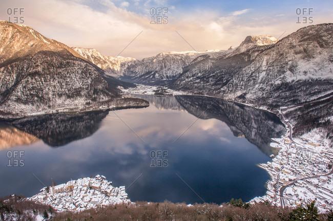 Mountain lake and village in Austria