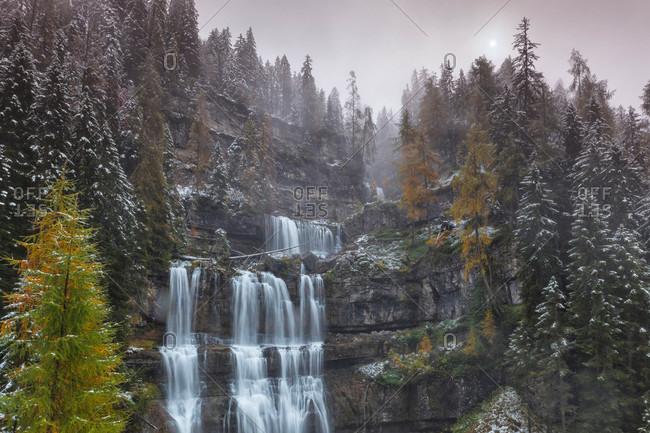 Wintery cascades in rural Italy