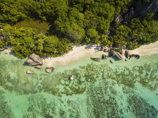 Aerial view of beach, La Digue Island