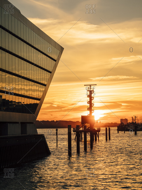 Sunset and Office building Dockland, Hamburg