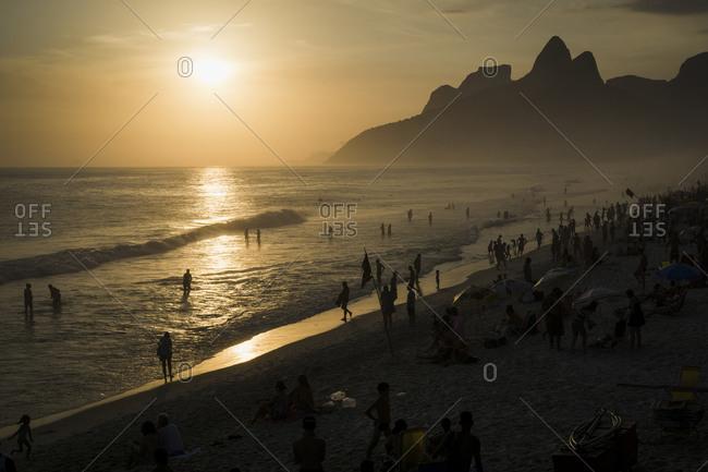 Ipanema beach at sunset, Rio de Janeiro