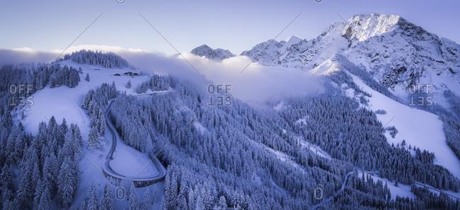 Hoher Goell and Rossfeldstrasse in winter, panorama