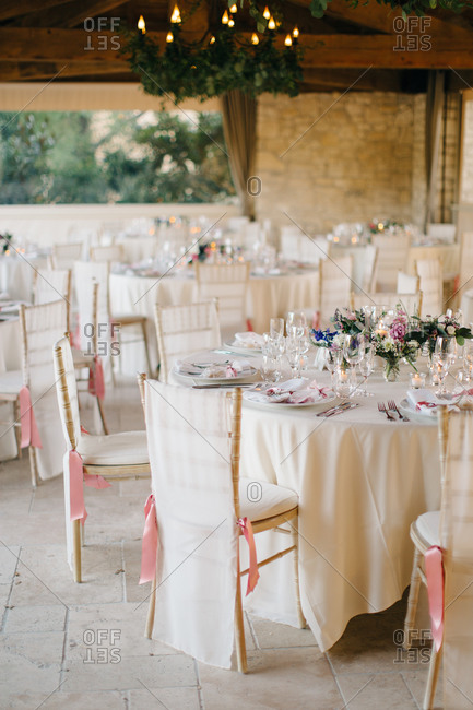 Table setting at a rustic wedding reception