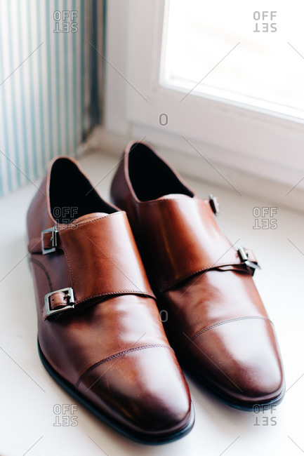 Close up of men's brown leather dress shoes