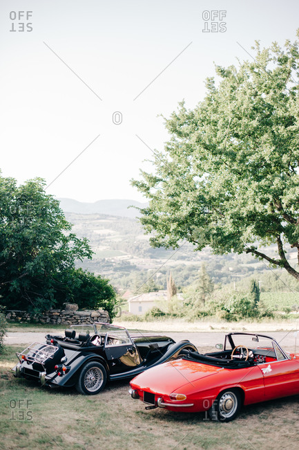 Provence, France - July 4, 2015: Two classic car parked in the country