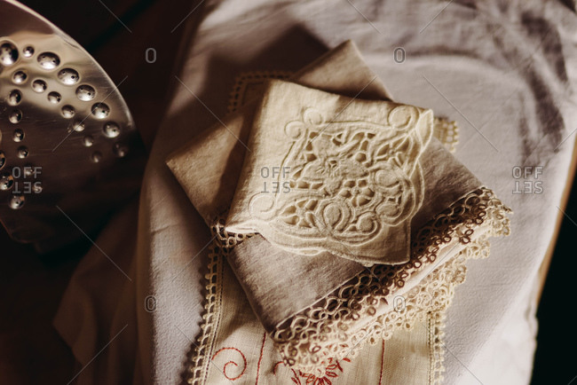 Vintage linens and iron