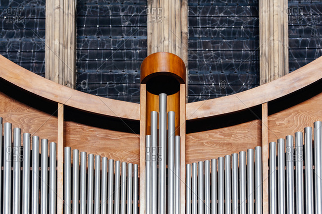Pipe organ detail at a cathedral in Metz, France