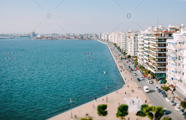 Aerial view of the waterfront at Nikis Avenue in Thessaloniki, Greece