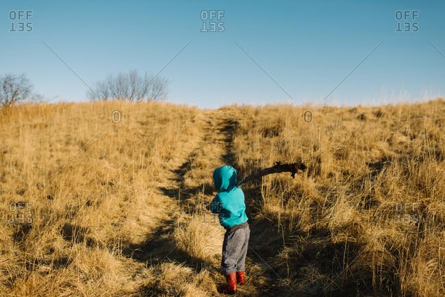 Kid holding big stick in field