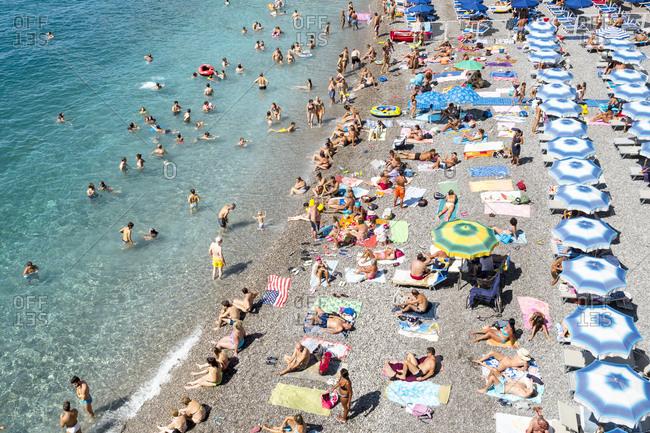 Salerno Italy August 18 2015 Beach Goers On The Amalfi