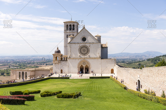 Umbria, Italy - August 23, 2015: Basilica of Saint Francis of Assisi