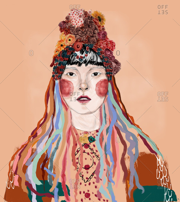 Woman in a floral headpiece