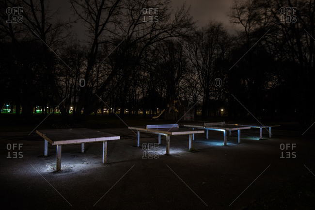 Ping pong tables at night