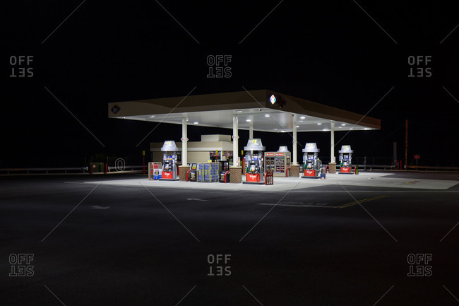 Abingdon, Virginia, USA - July 10, 2015: Gas station in the USA at night