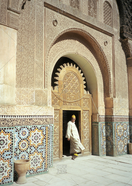 Marrakech, Morocco - March 02, 2001 - March 29th 2001: Man in historic courtyard