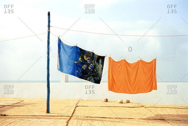 Beach towels hanging in Morocco