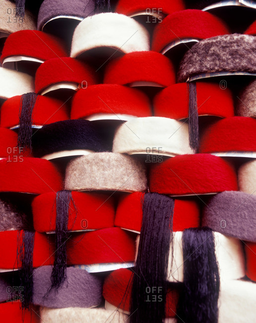 Hats on shelves in the Tunis souk