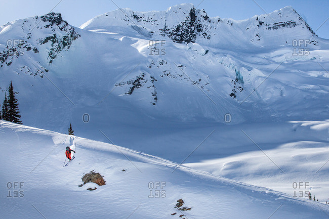 Elevated view of backcountry skier on mountain