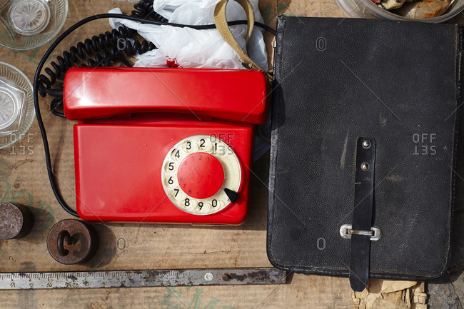 Rotary phone and leather satchel