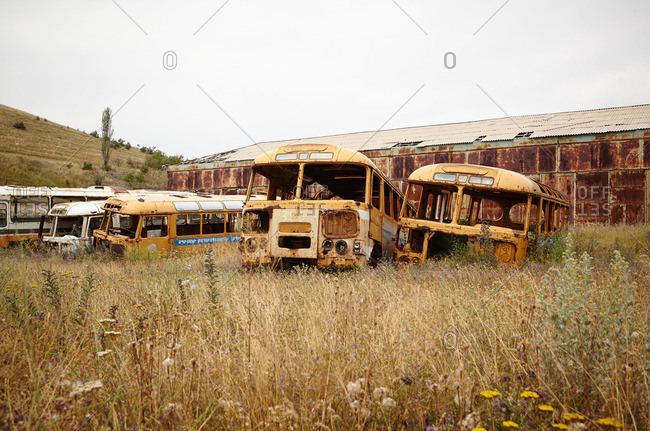 Rusted shells of buses in a field beside a metal warehouse