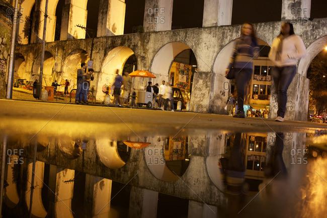 Rio de Janeiro, Brazil - September 18, 2010: Night life around the Carioca Aquaduct, Rio de Janeiro, Brazil