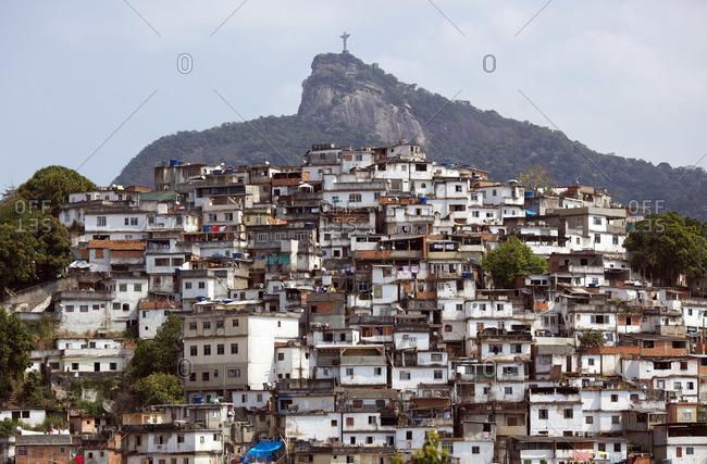 Rio de Janeiro, Brazil - September 20, 2010: A view from Favela Morro da Coroa in Rio de Janeiro of the Christ the Redeemer statue atop the mountain Corcovado