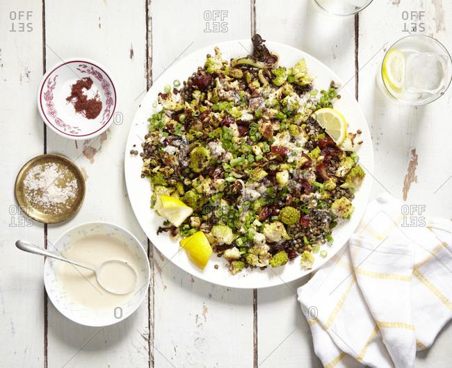Roasted romanesco and lentil salad platter