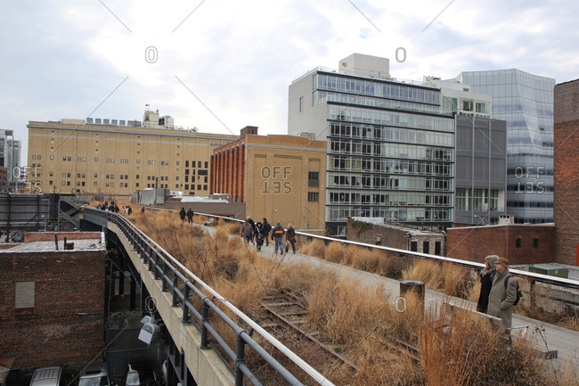 New York City, NY - January 17, 2013: Elevated linear park in the winter at The High Line, Manhattan, New York