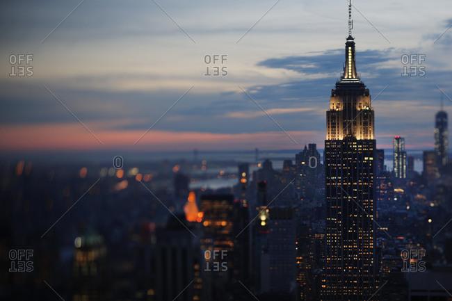 View of skyscrapers in the Manhattan skyline at sunset, Manhattan, New York