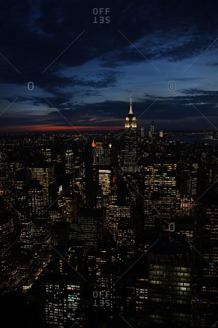 View of the Manhattan skyline at dusk, Manhattan, New York