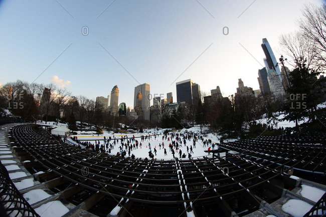 New York City, New York - December 18, 2013: The Wollman Ice Skating Rink, also know as The Trump Skating Rink at the southern part of Central Park, Manhattan, New York