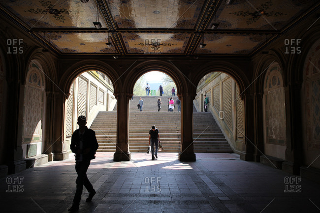 New York City, New York - April 24, 2013: The Bethesda Terrace during a warm spring day in Central Park, Manhattan, New York