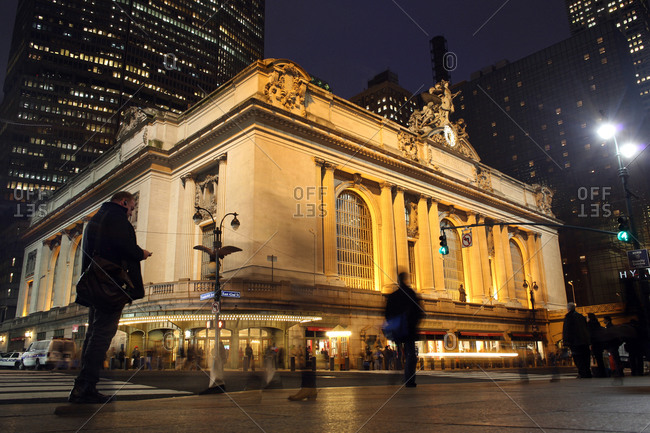 New York City, New York - January 29, 2013: An exterior night shot of Grand Central Terminal  in Manhattan, New York