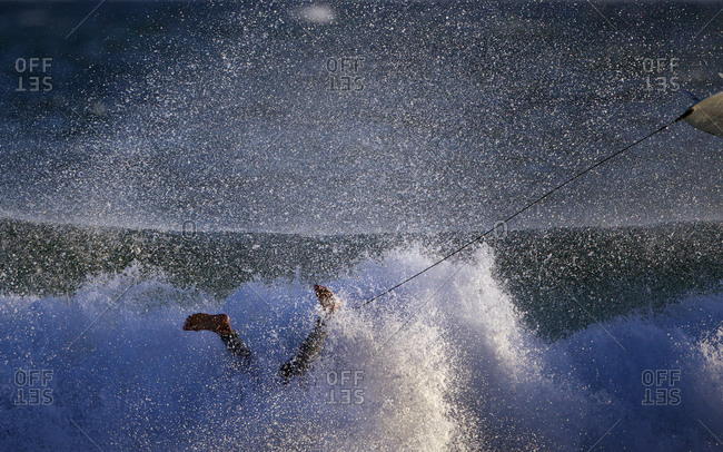 Surfers in action during a big swell at Arpoador Beach near Apoador Point