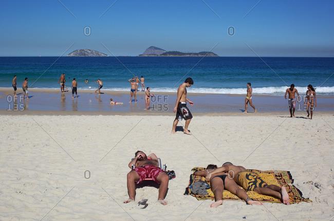Rio de Janeiro, Brazil - July 6, 2010: A beach scene on Ipanema beach, Rio de Janeiro, Brazil