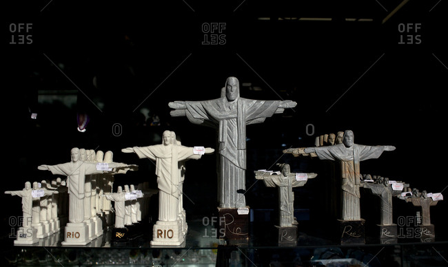 Miniature statues of Christ the Redeemer on sale in the souvenir shop on site
