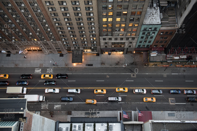 Birds eye view of a Manhattan street
