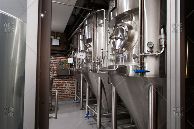 Stainless steel beer fermentation tanks