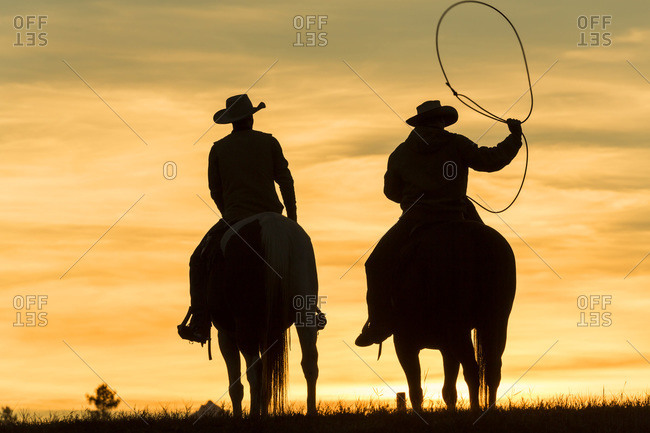Cowboys lassoing on horse in silhouette