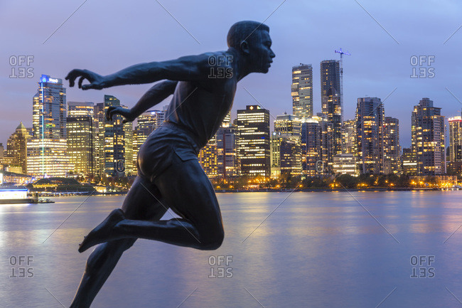 Vancouver BC, Canada - September 19, 2015: Bronze statue in Stanley Park, Vancouver