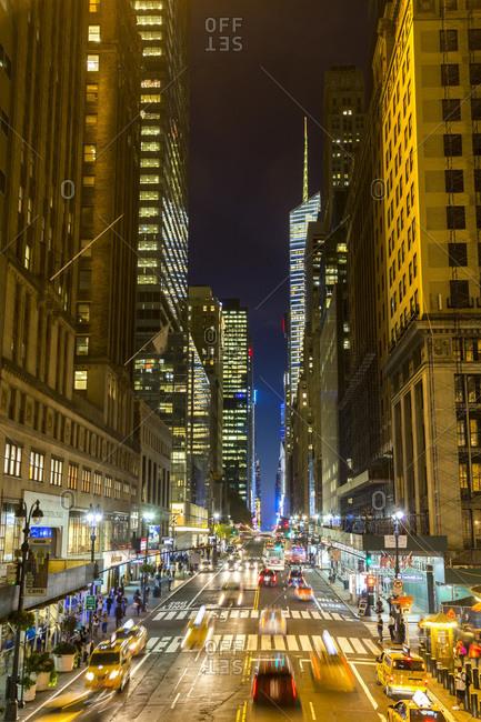 Avenue at dusk in central Manhattan