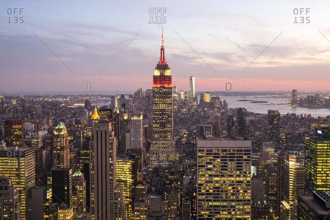 New York City - September 25, 2015: Empire State Building illuminated